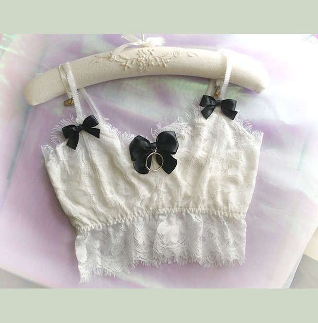 90a31e725d6a7 Daddys Girl Ddlg Clothing White Lace Crop Top Cami Black Bow O Ring Camisol