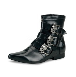 Gothic Punk Winklepicker Beatle Skull Point Toe Ankle Boots ( Brogue 06 )