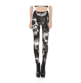 Gothic Punk Rock Rose Skull Push Up Women Leggings