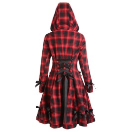 Gothic Red Riding Hood Checked Lace Up Button Long Women Coat