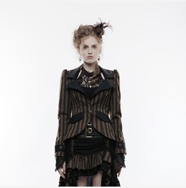 Punk Rave Women's Steampunk Turn Down Collar High/Low Striped Jacket Y822