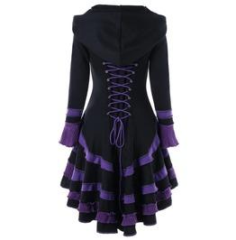 Punk Gothic Black&Purple Lace Up Hooded Women Coat