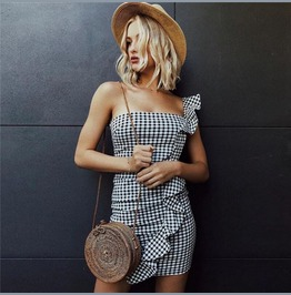 Frills Ruffles Black And White Check Gingham Strapless Dress Bodycon D2259