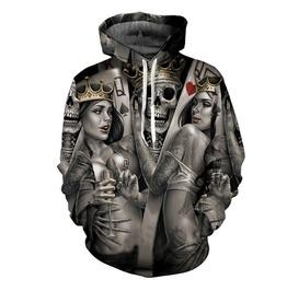 Skull Death King And Queens 3 D Men Hoodies Sweatshirt