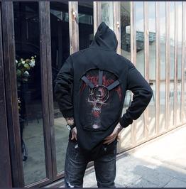 Punk Rock Ripped Red Devils Skull Streeetwear Hooded Sweatshirt