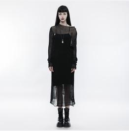 Punk Rave Women's Gothic Sexy Transparent Mesh Woolen Dress Opm061