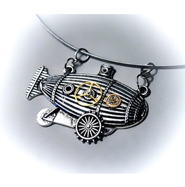 Steampunk Bdsm Submissive Day Collar Choker Necklace Airship Dirigible Gift