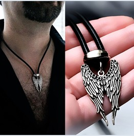 Mens Necklace Wings Bdsm Dominant Pendant Angel Demon Man Jewelry Satanic