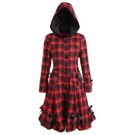 Vintage Checkered Hooded Outerwear