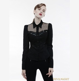 Black Gothic Handsome Punk Military Shirt For Women Wy 833