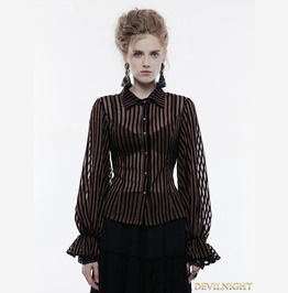 Coffee Gothic Steampunk Transparent Striped Shirt For Women Wy 823 Co