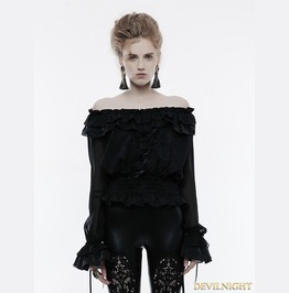 Black Gothic Gorgeous Off The Shoulder Long Sleeves T Shirt For Women Wt 505