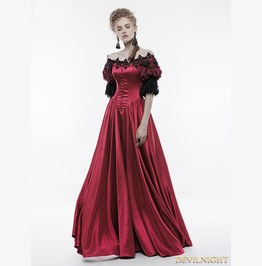 Red Victorian Vintage Palace Ball Gown Dress Wq 352