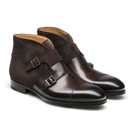 Handmade Men Brown Suede And Leather Monk Chukka Boots, Men Fashion Chukka