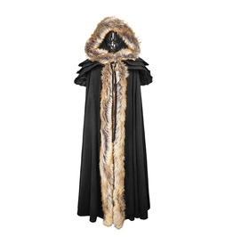 Black Long Cloak Gothic Trench Coats With Excellent Wool Collar