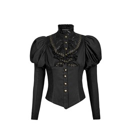 Black Lantern Sleeves Lace Collar Classic Lolita With Golden Buttons