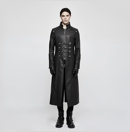 Coffee Winter Men Long Leather Punk Coat With Stand Up Collar