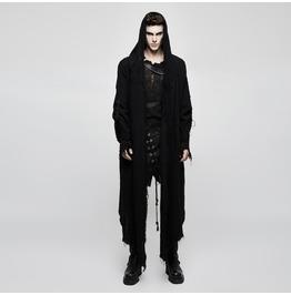 Punk Black Hooded Washed Linen Cloak For Women