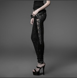 Black Tight Gothic Pants With Transparent Black Mesh