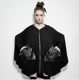 Comfortable Black Bats Punk Jacket With Double Zippers
