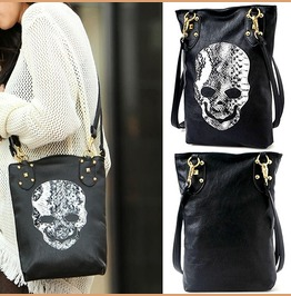 Gothic Steampunk Women Faux Leather Skull Messenger Handbag Shoulder Bag
