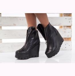 Sale/Black Genuine Leather Platform Boots/Must Hava Platform Boots