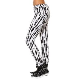 "White Black Lightning Bolt Skinny Punk Jeans Size 26 Tripp Pants 28"" Waist"