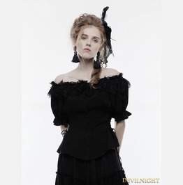 Black Gothic Lolita Sweet Shirt For Women Wly 070