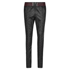 Men Black Red Imitation Leather Pant Mens Trouser With Gothic Rock Vampire