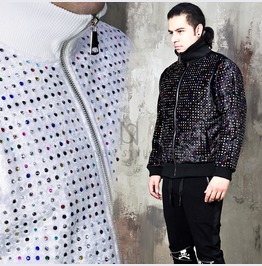 Colorful Beads Studded Velvet High Neck Bomber Jacket 307