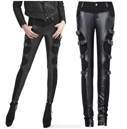 Women Black Denim Leather Pant With Straps On The Sides Retro Futuristic Pa