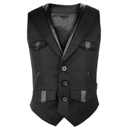 Men Black Imitation Leather Waistcoat Vest With Elegant Pockets Steampunk G