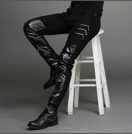 Gothic Punk Black Leather Zipper Men Pants