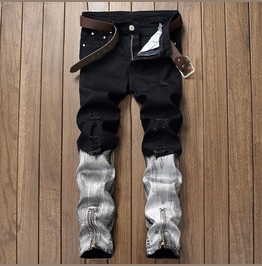 Distressed Zipper Biker Black&White Men's Jeans