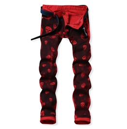 Red Skulls Distressed Washed Denim Men's Jeans