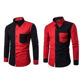 Black&Red Casual Men's Long Sleeve Slim Fit Shirt