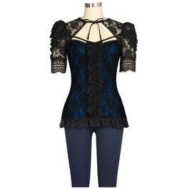 Blue Black Lace Victorian Gothic Lolita Short Sleeve Top Plus Sizes Too