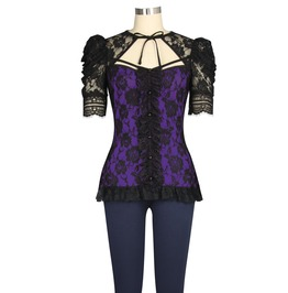 Purple Black Lace Victorian Gothic Lolita Short Sleeve Top Plus Sizes Too