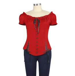 Red Frilled Victorian Gothic Lolita Short Sleeve Gypsy Top Plus Sizes Too