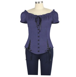 Blue Frilled Victorian Gothic Lolita Short Sleeve Gypsy Top Plus Sizes Too