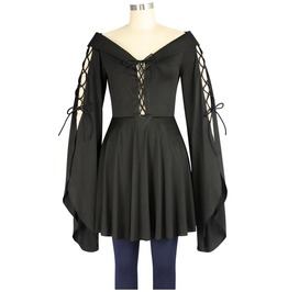 Black Bell Sleeved Corset Lacing Medieval Damsel Tunic Top Plus Sizes Too