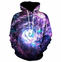 Men's Purple Blue Cosmic Hooded Sweatshirt Galaxy Print Hoodie