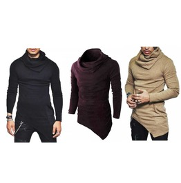 Men's Warm Cowl Neck Asymmetrical Goth Sweater With Pocket $5 To Ship