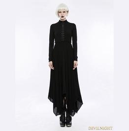 Gothic Retro High Neck Hollow Out Irregular Hem Mystical Dress Opq 202