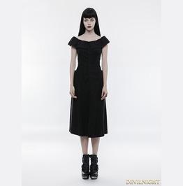 Black Gothic Punk Off The Shoulder Slim Dress Opq 206