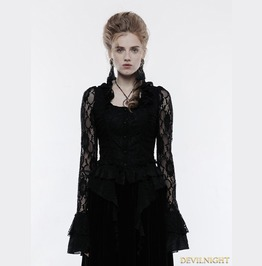 Black Gothic Gorgeous Lace Outwear For Women Wy 829