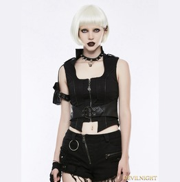 Black Gothic Handsome Punk Vest For Women Wy 828