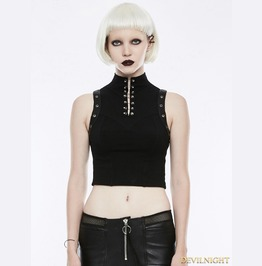 Black Gothic Punk Sleeveless Tank Top For Women Wt 507