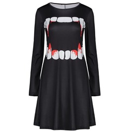 Scary Blood Drip Jaw Long Sleeves Black Dress