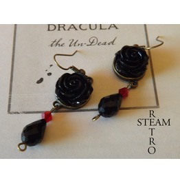 Gothic Black Rose Earrings Gothic Jewelry, Steamretro